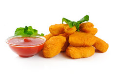 Nuggets, ketchup. Nuggets, ketchup isolated on white background stock image
