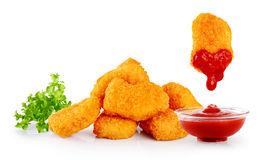 Nuggets lettuce and ketchup. Royalty Free Stock Photos