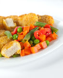 Nuggets with salad Royalty Free Stock Image