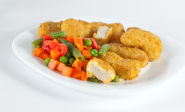 Nuggets with salad Stock Images