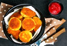 Nuggets. With tomato sauce on plate , stock photo royalty free stock image