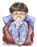 Nuisance. Little boy who has the flu Royalty Free Stock Image