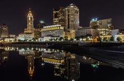 Nuit à Columbus Photographie stock