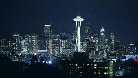 Nuit à Seattle, Washington, Etats-Unis banque de vidéos