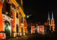 Nuit à Wroclaw image libre de droits