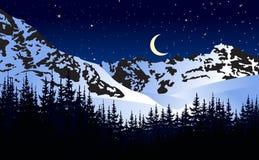 Nuit éclairée par la lune en montagnes d'hiver Illustration de vecteur illustration libre de droits
