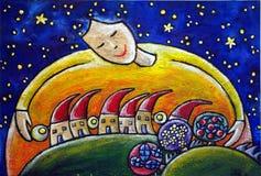 Nuit étoilée au-dessus d'un village de pays Illustration de Vecteur