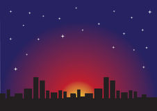 Nuit étoilée et paysage urbain urbain Photographie stock