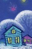 Nuit étoilée féerique Arbres neigeux de petites maisons colorées Illustration en pastel tirée par la main sur le papier texturisé illustration stock