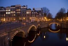 Nuit 9 d'Amsterdam Photographie stock libre de droits