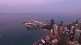 Nuit aérienne de l'Illinois Chicago banque de vidéos
