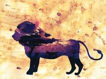 Nuit africaine avec Lion Grunge Images stock