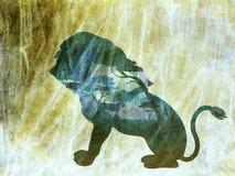 Nuit africaine avec Lion Grunge Photos libres de droits