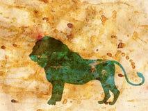 Nuit africaine avec Lion Grunge Photo libre de droits