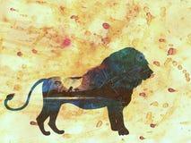 Nuit africaine avec Lion Grunge Photographie stock
