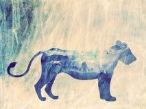 Nuit africaine avec Lion Grunge Images libres de droits