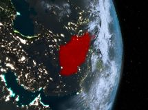 Nuit au-dessus de l'Afghanistan sur terre Photo stock