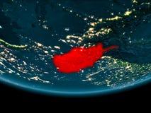 Nuit au-dessus de l'Afghanistan sur terre Photos stock