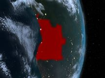 Nuit au-dessus de l'Angola sur terre illustration libre de droits