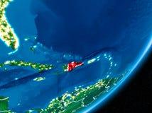 Nuit au-dessus de la République Dominicaine  Photographie stock libre de droits