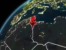 Nuit au-dessus de la Tunisie Photos libres de droits