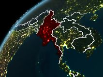 Nuit au-dessus de Myanmar Image libre de droits