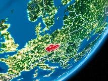 Nuit au-dessus de République Tchèque Images stock