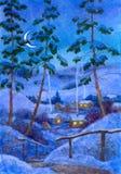 Nuit au village de l'hiver Images stock