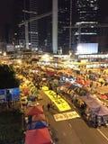 Nuit avant le dégagement à la révolution de parapluie - Amirauté, Hong Kong Photographie stock libre de droits
