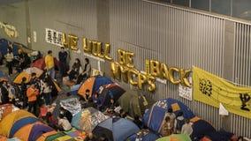 Nuit avant le dégagement à la révolution de parapluie - Amirauté, Hong Kong Image stock