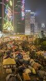 Nuit avant le dégagement à la révolution de parapluie - Amirauté, Hong Kong Images libres de droits