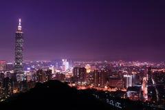 Nuit avec du charme de Taïpeh, Taiwan Photos libres de droits