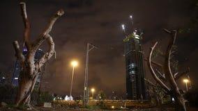 Nuit avec les arbres et les bâtiments morts banque de vidéos