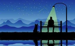 Nuit avec mon chien Images stock