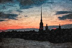 Nuit blanche au-dessus de forteresse de Peter et de Paul Aquarelle humide de peinture sur le papier Art naïf Aquarelle de dessin  illustration de vecteur