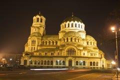 nuit centrale Sofia de la Bulgarie Photographie stock libre de droits
