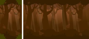 Nuit chez Forest Video Game Background Photos stock
