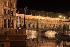 Nuit chez Plaza de Espana célèbre Photographie stock