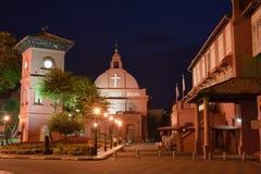 Nuit colorée au Malacca Image libre de droits