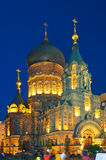 Nuit d'église de Sofia de saint de Harbin photo stock