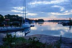 Nuit d'été dans l'archipel Photographie stock libre de droits