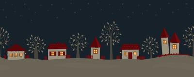 Nuit d'été dans le village Paysage de pays illustration libre de droits