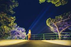 Nuit d'été Femme se tenant prêt la frontière de sécurité photographie stock libre de droits