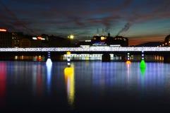 Nuit d'automne de Genève Photo stock