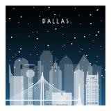 Nuit d'hiver à Dallas illustration de vecteur