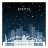 Nuit d'hiver à Denver illustration de vecteur