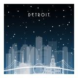 Nuit d'hiver à Detroit illustration libre de droits