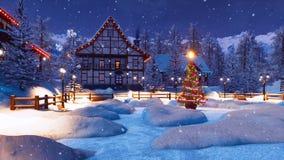 Nuit d'hiver avant Noël dans le village de montagne illustration stock