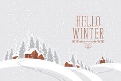 Nuit d'hiver avec le village couvert de neige dans le bois illustration de vecteur