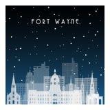 Nuit d'hiver dans Fort Wayne illustration de vecteur